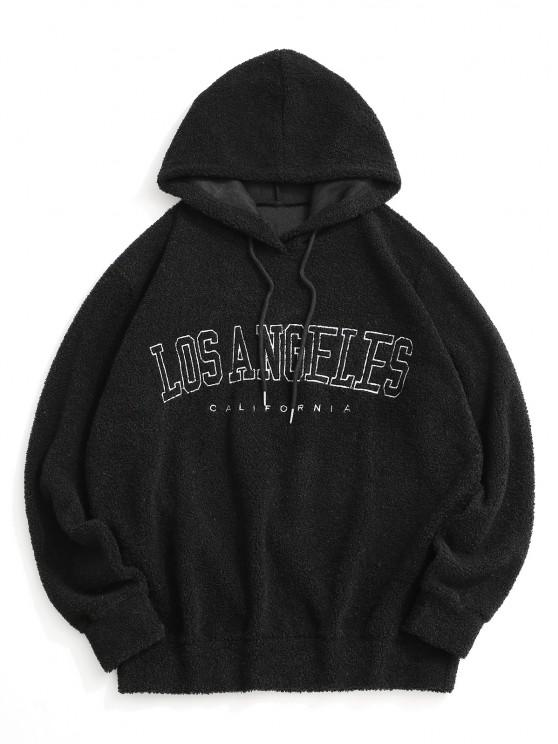 Los Angeles Embroidery Teddy Hoodie - أسود 2XL