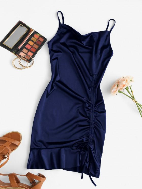 lady Satin Cowl Front Cinched Ruffle Hem Dress - CADETBLUE S