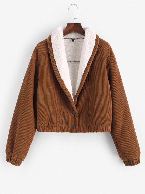 hot ZAFUL Corduroy Drop Shoulder Teddy Lined Jacket - COFFEE S