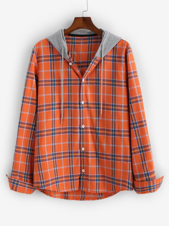 fancy Plaid Long Sleeve Colorblock Hooded Shirt - ORANGE 2XL