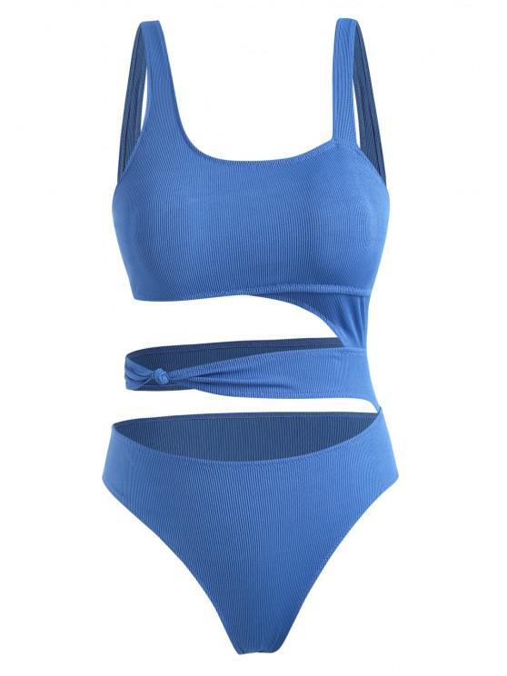 Plus Size Ribbed Cutout Knotted One-piece Swimwear - أزرق XL