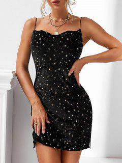 Stars Side Slit Cowl Front Velvet Dress - Black M