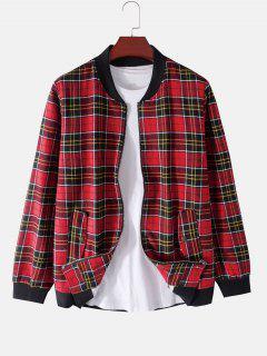 Plaid Print Rib-knit Trim Fleece Jacket - Red Xl