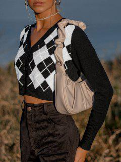 Argyle Button Up V Neck Crop Cardigan - Natural Black