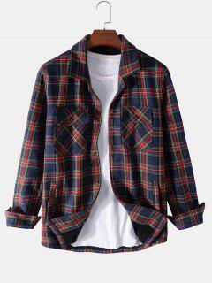 Plaid Print Multi Pockets Fleece Jacket - Deep Blue Xl