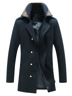 Flower Embroidered Double Breasted Wool Blend Coat - Cadetblue Xxl