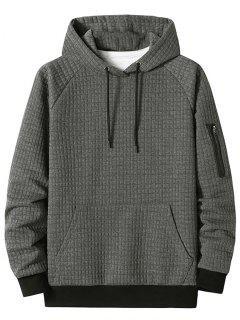 Raglan Sleeve Front Pocket Plaid Emboss Hoodie - Dark Gray L