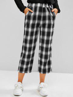 Plaid Slant Pocket Straight Pull On Pants - Black Xl