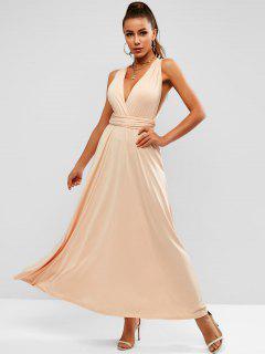 Convertible Open Back Maxi Prom Dress - Light Coffee M