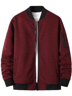 Zipper Pocket Grid Jacquard Zip Up Jacket - Red Wine Xxl