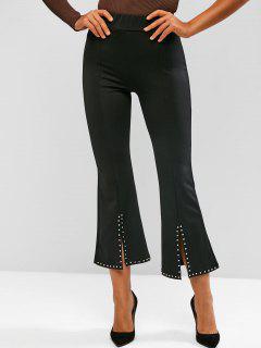 Studded Slit Hem Pull On Flare Pants - Black Xl