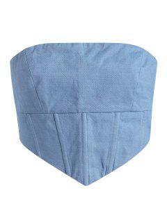 Débardeur Corset Sans Bretelle Avec Zip Au Dos - Bleu L