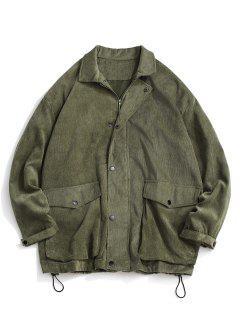 Double Pockets Zip Up Corduroy Jacket - Light Green Xl
