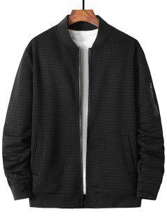 Plaid Emboss Zipper Pocket Zip Up Jacket - Black Xxl