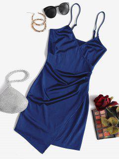 ZAFUL Drapiertes Glänzendes Surplice Kleid - Tiefes Blau M