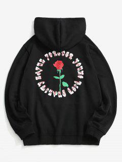 Rose Letter Fleece Lined Hoodie - Black L