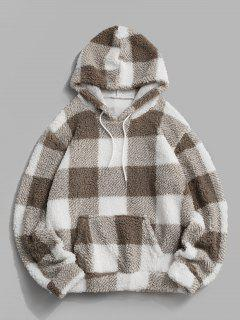 Fluffy Plaid Pattern Hoodie - White L