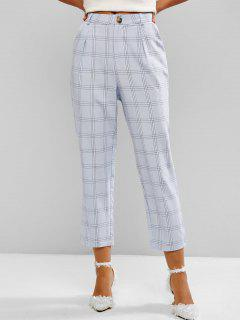 Windowpane Check High Waist Tapered Pants - Light Blue L