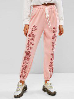 ZAFUL Fleece Lined Flower Tie Pull On Sweatpants - Light Pink S