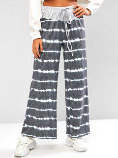 Dip Dye Drawstring Wide Leg Loose Pants - Dark Gray M