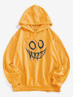 ZAFUL Luminous Cartoon Print Kangaroo Pocket Hoodie - Yellow L