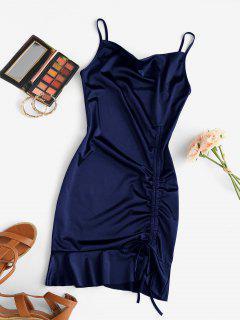 Kleid Mit Kapuze Und Rüschensaum - Kadettenblau M