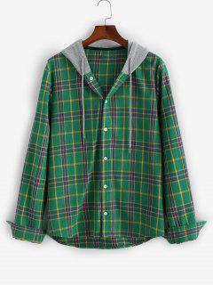 Chemise à Capuche à Carreaux En Blocs De Couleurs à Manches Longues - Vert Profond M