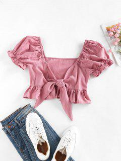 ZAFUL Ruffle Puff Sleeve Tied Crop Blouse - Deep Pink S