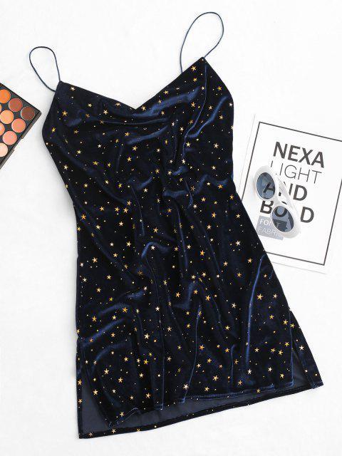 fancy Stars Side Slit Cowl Front Velvet Dress - DEEP BLUE S Mobile