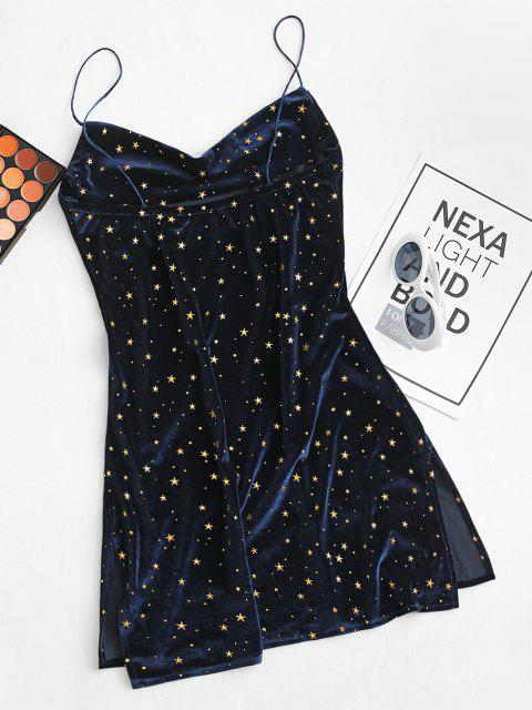 latest Stars Side Slit Cowl Front Velvet Dress - DEEP BLUE XL Mobile