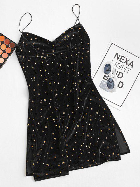 outfit Stars Side Slit Cowl Front Velvet Dress - BLACK M Mobile