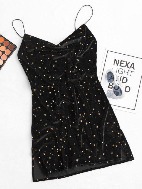 별 사이드 슬릿 고깔 전면 벨벳 드레스 - 검정 미디엄 Mobile