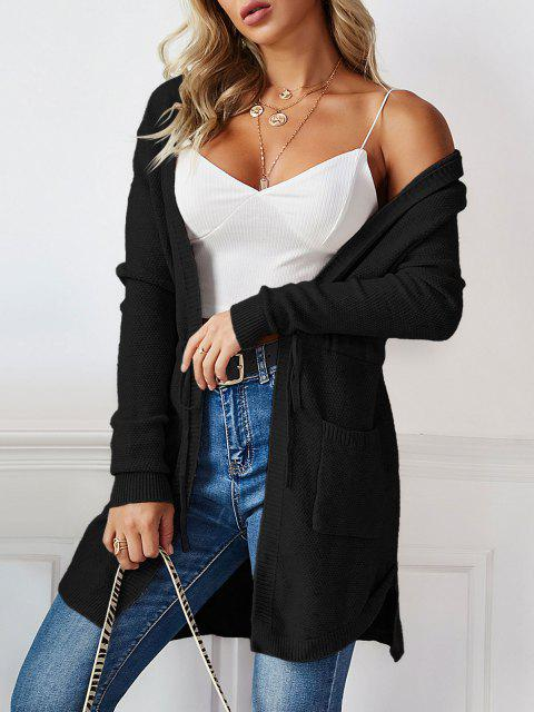 affordable Longline Hooded Drawstring Pockets Cardigan - BLACK ONE SIZE Mobile