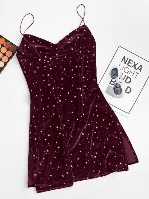 lady Stars Side Slit Cowl Front Velvet Dress - RED WINE S Mobile