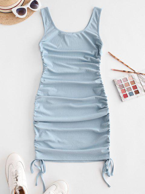 latest ZAFUL Ribbed Cinched Tank Dress - LIGHT BLUE S Mobile