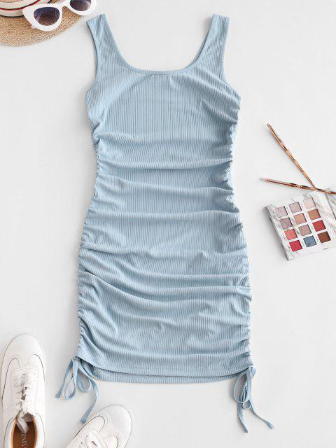 outfits ZAFUL Ribbed Cinched Tank Dress - LIGHT BLUE M Mobile