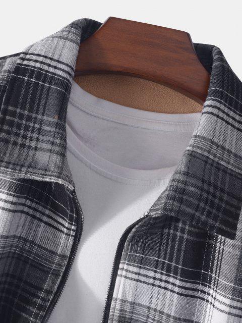 プラッド印刷ダブルフリースジャケットポケット - ブラック 2XL Mobile