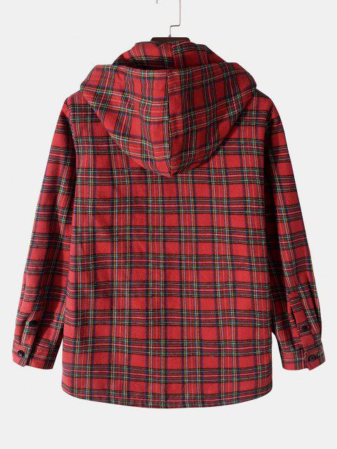 trendy Plaid Pattern Pocket Fleece Hooded Jacket - RED XL Mobile