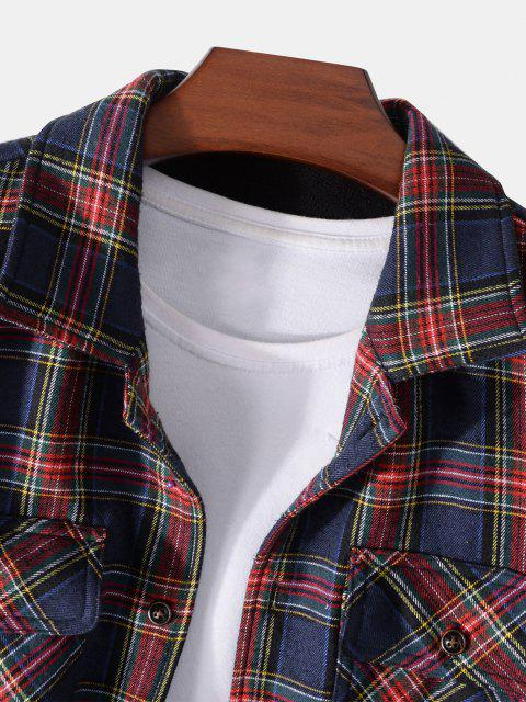 fashion Plaid Print Multi Pockets Fleece Jacket - DEEP BLUE S Mobile