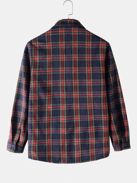 womens Plaid Print Multi Pockets Fleece Jacket - DEEP BLUE 2XL Mobile