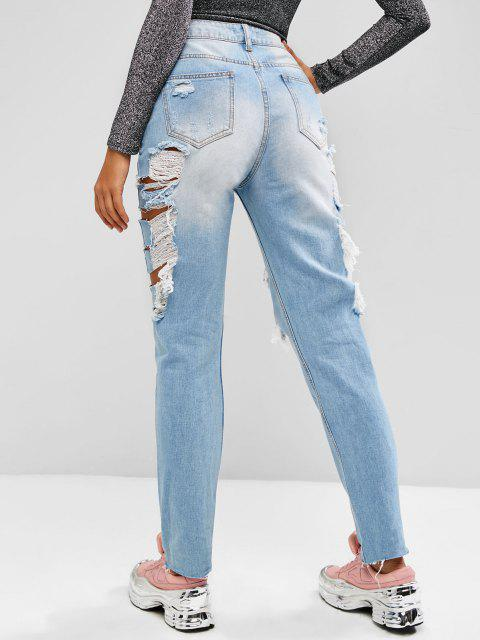 outfits Ripped Cutout Raw Hem High Rise Jeans - LIGHT BLUE S Mobile
