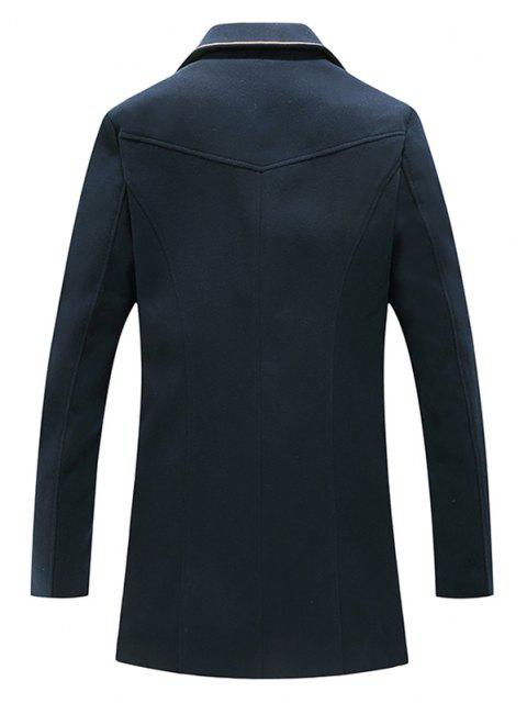 new Flower Embroidered Double Breasted Wool Blend Coat - CADETBLUE XXL Mobile