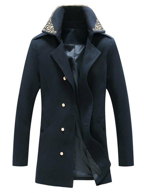 Flower Embroidered Double Breasted Wool Blend Coat - طالبا الأزرق XXL Mobile