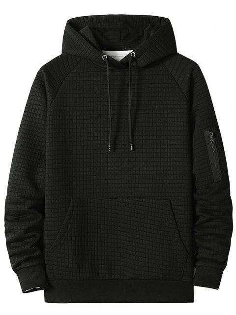 fashion Raglan Sleeve Front Pocket Plaid Emboss Hoodie - BLACK XL Mobile