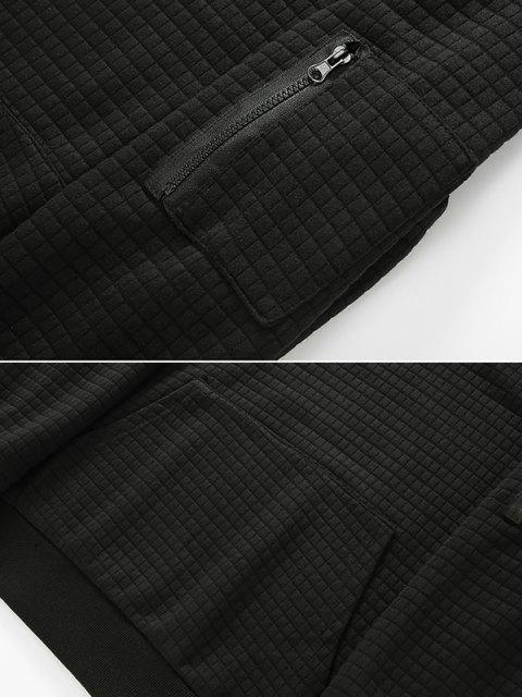 Raglan Ärmel Vorder Tasche Kariert Prägen Hoodie - Schwarz XL Mobile