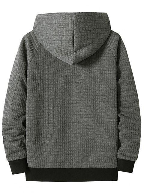 womens Raglan Sleeve Front Pocket Plaid Emboss Hoodie - DARK GRAY L Mobile