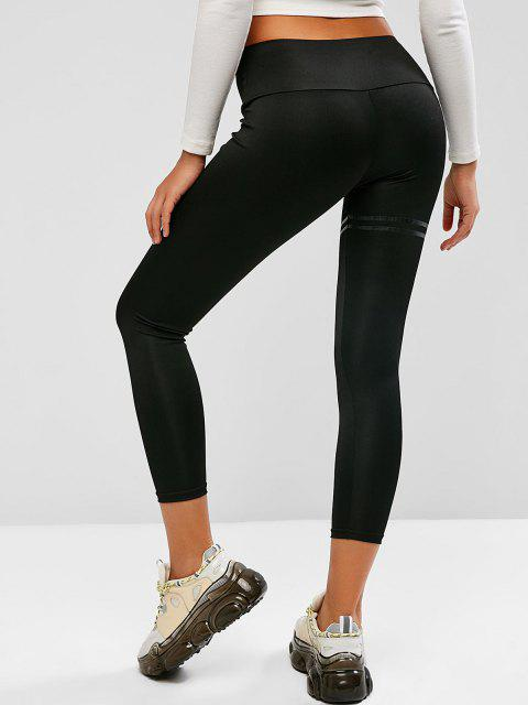 outfits Reflective Striped Detail Leggings - BLACK M Mobile