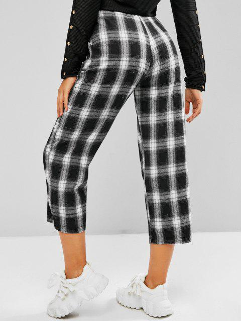 outfit Plaid Slant Pocket Straight Pull On Pants - BLACK M Mobile