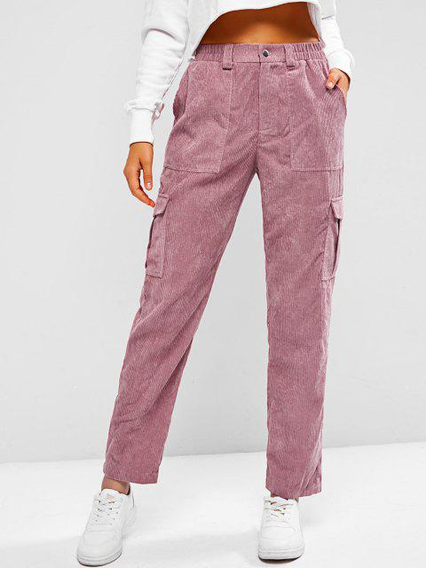 latest ZAFUL Corduroy High Rise Cargo Pants - PALE VIOLET RED M Mobile