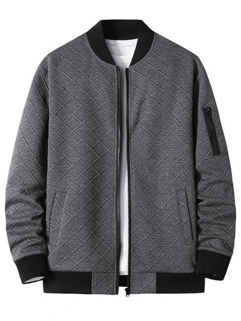 online Zipper Pocket Grid Jacquard Zip Up Jacket - DARK GRAY XXXL Mobile